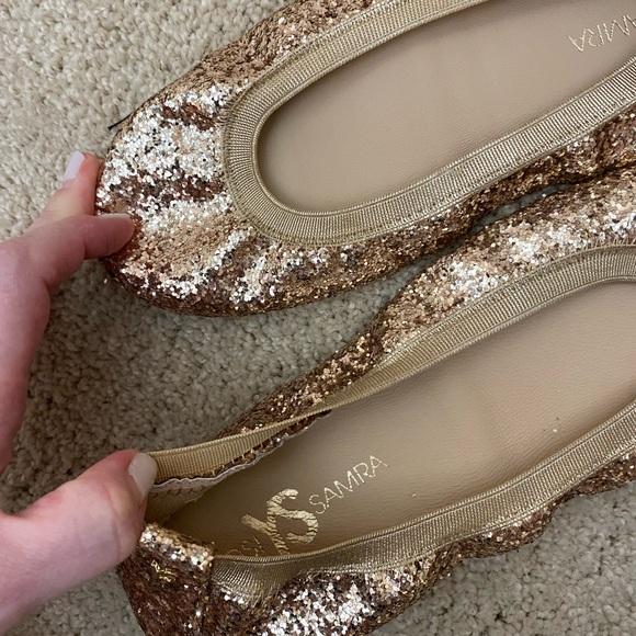 NEW Yosi Samra glitter gold ballet flats